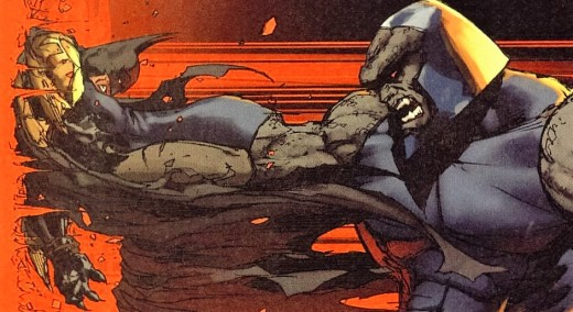 Darkseid crushing batman